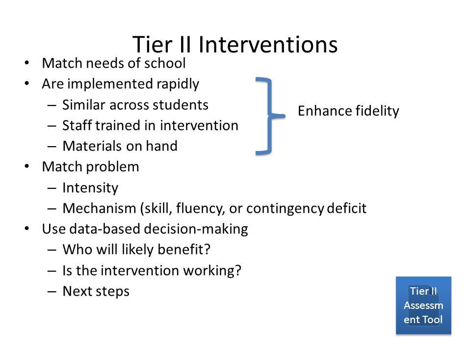Tier II Assessment Tool