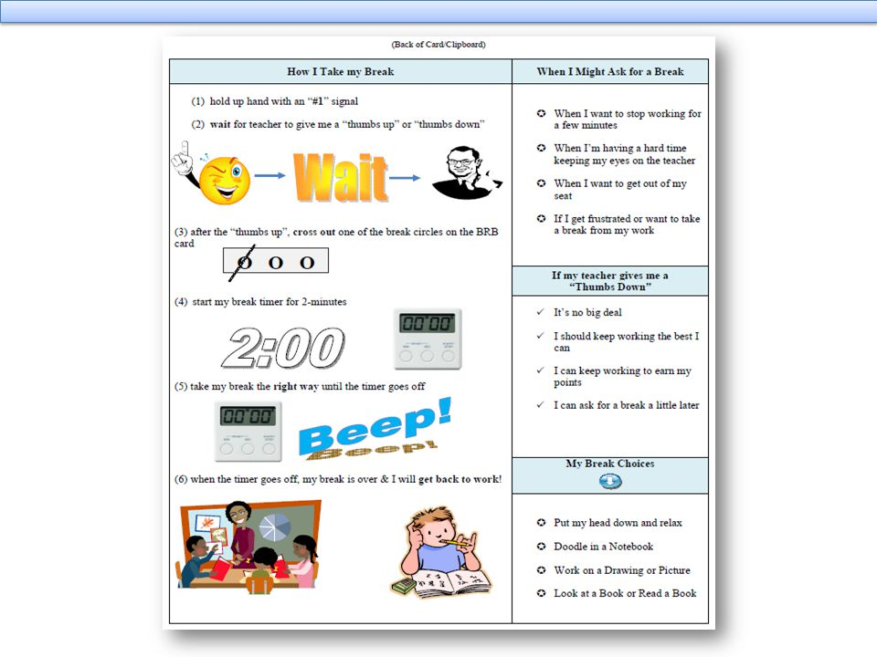 Students will be trained by the BrB coordinator to use break request routine. This will be done by role playing positive and negative examples. I will show you an example teaching script in just a minute.