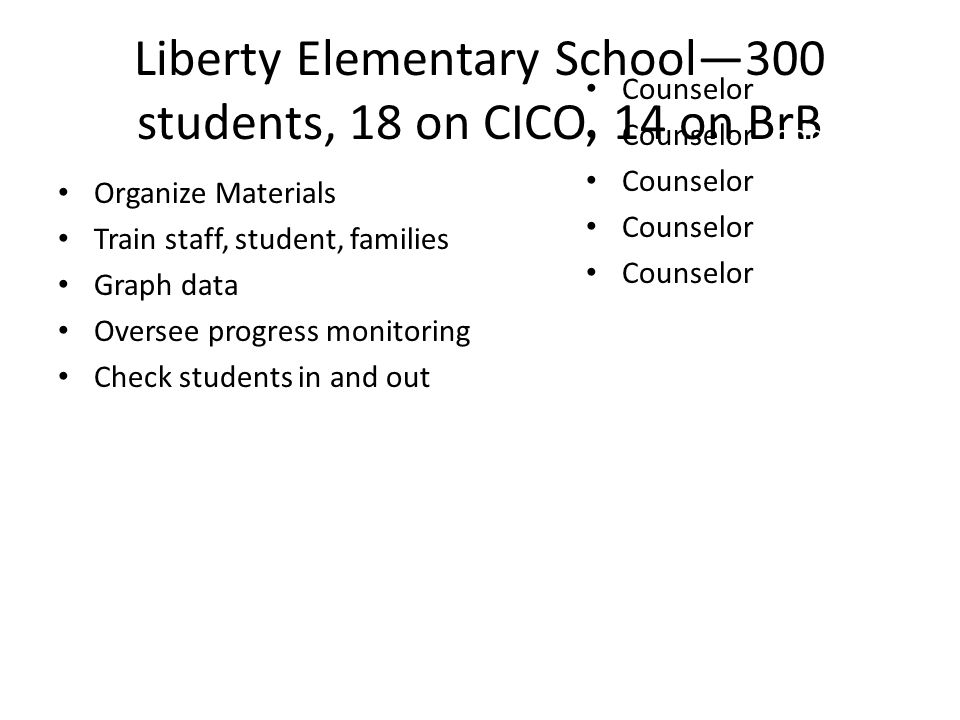 Liberty Elementary School—300 students, 18 on CICO, 14 on BrB