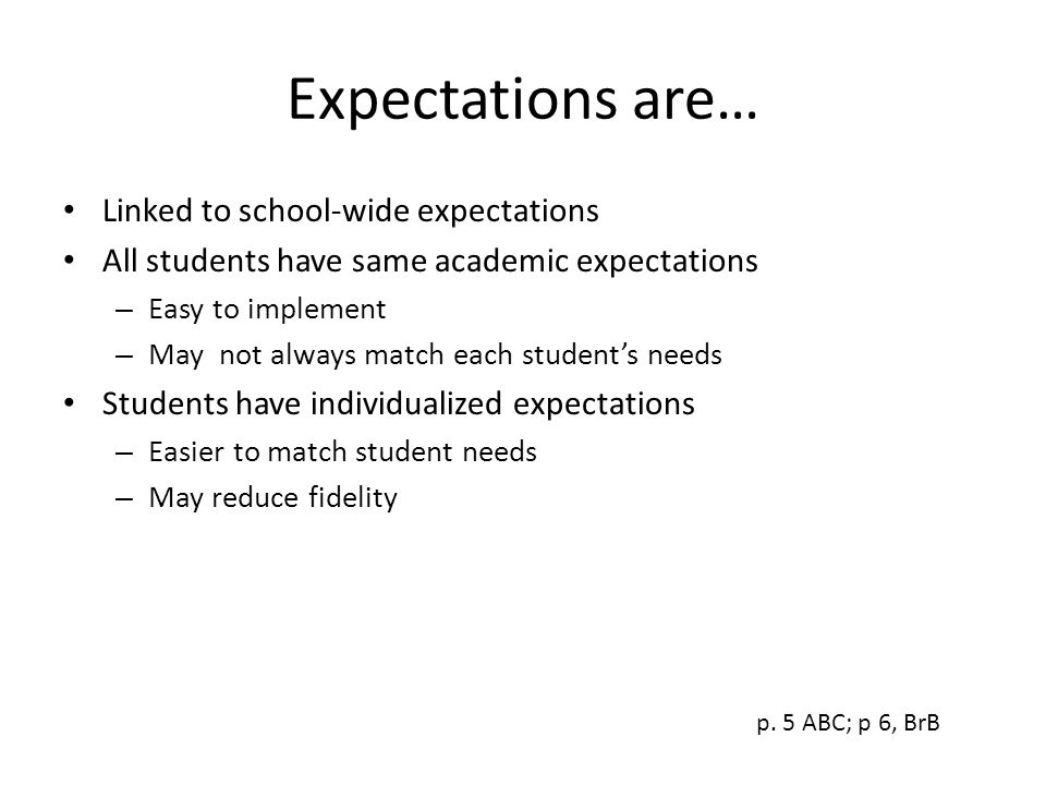 Expectations are… Linked to school-wide expectations