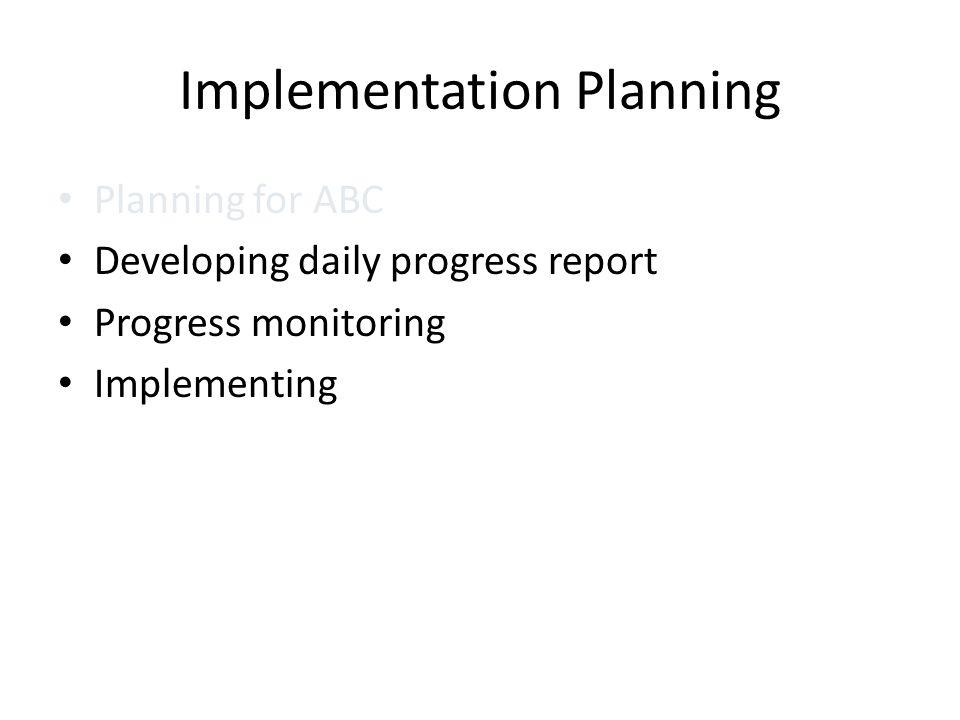Implementation Planning