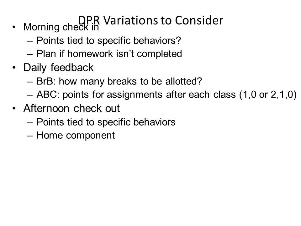 DPR Variations to Consider
