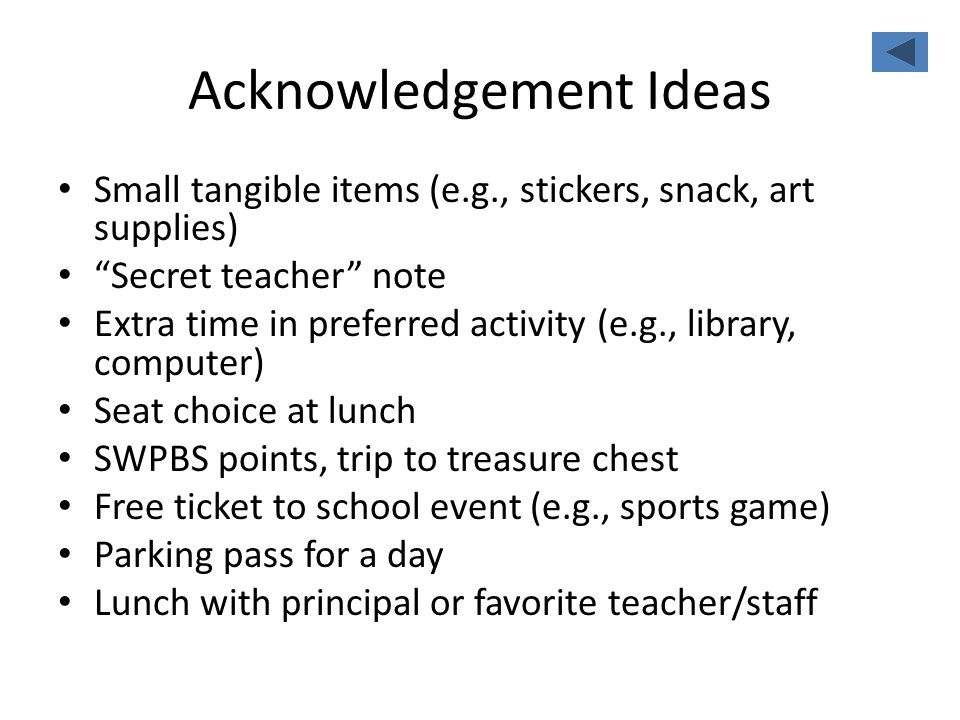 Acknowledgement Ideas