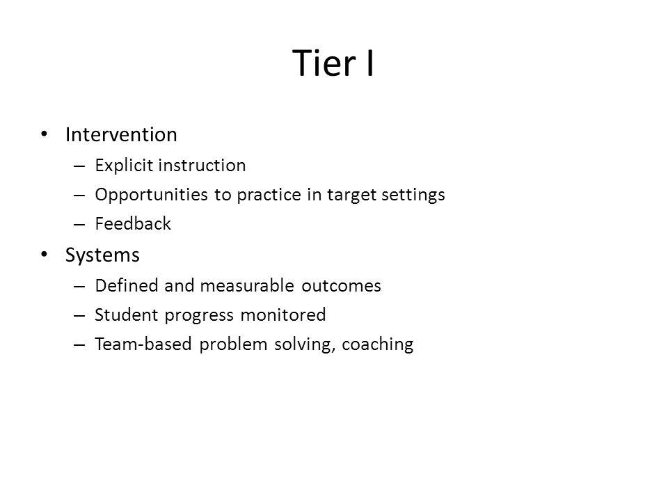 Tier I Intervention Systems Explicit instruction