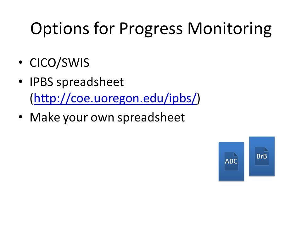 Options for Progress Monitoring