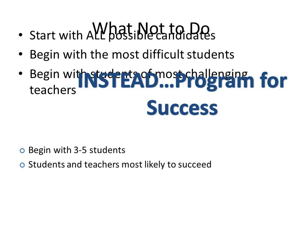 INSTEAD…Program for Success