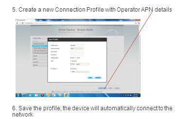 5. Create a new Connection Profile with Operator APN details