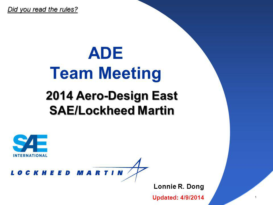 2014 Aero-Design East SAE/Lockheed Martin
