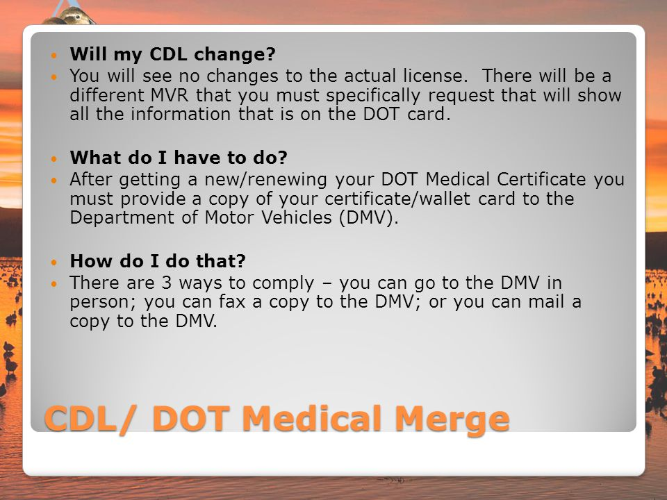 CDL/ DOT Medical Merge Will my CDL change