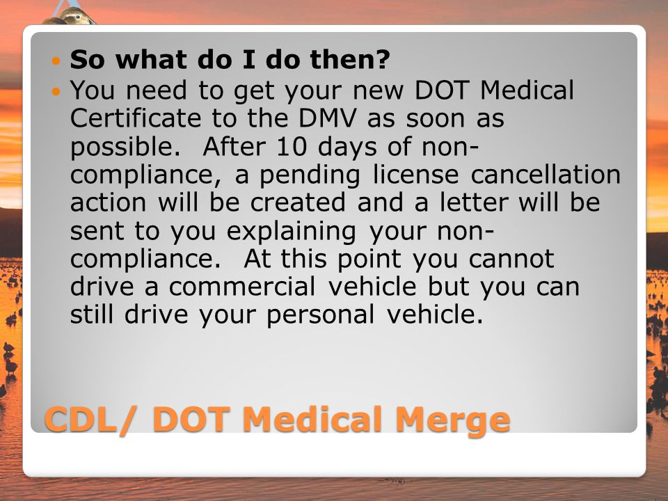 CDL/ DOT Medical Merge So what do I do then