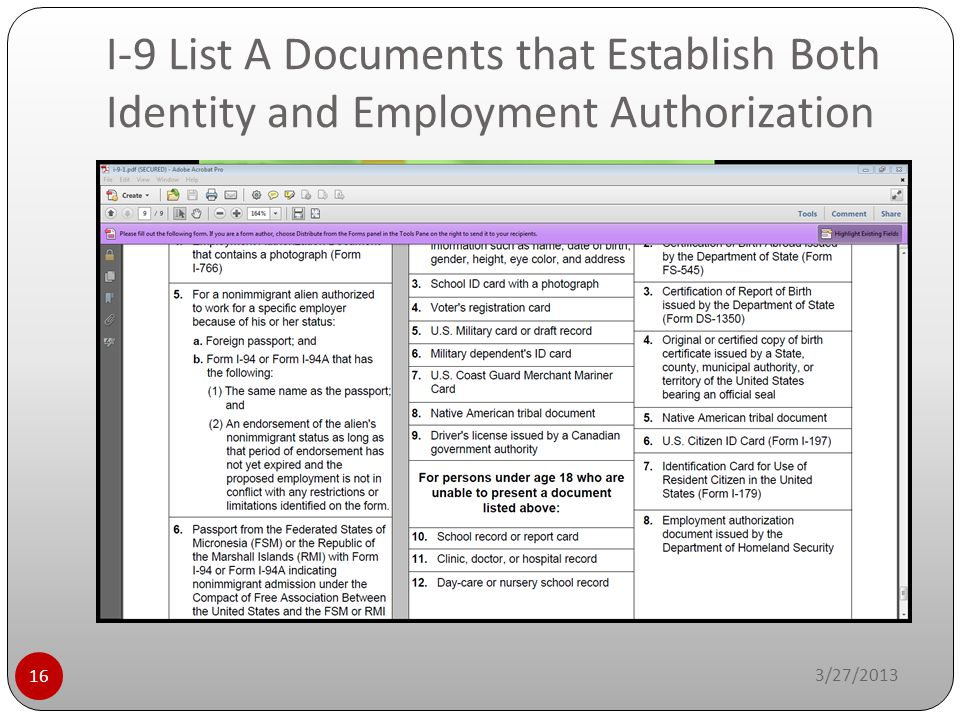 I-9 List A Documents that Establish Both Identity and Employment Authorization