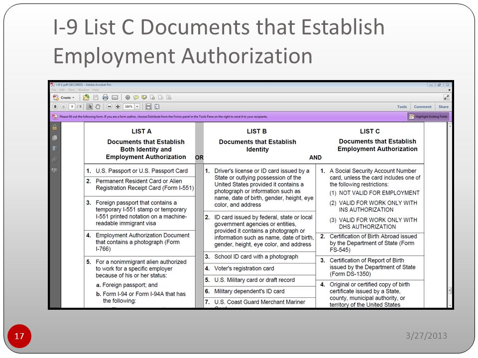 I-9 List C Documents that Establish Employment Authorization