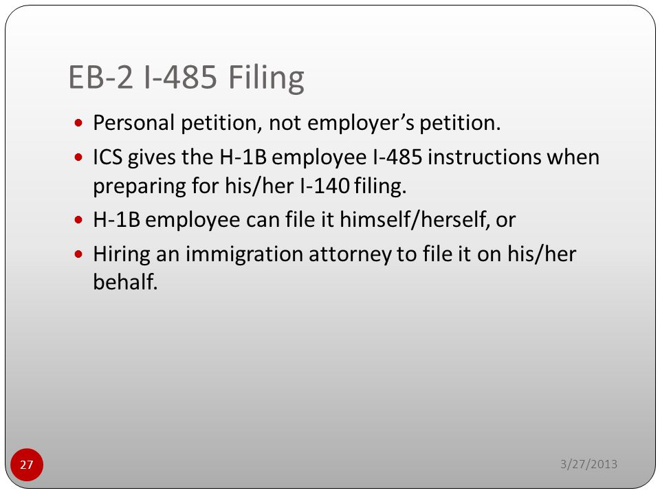 EB-2 I-485 Filing Personal petition, not employer's petition.