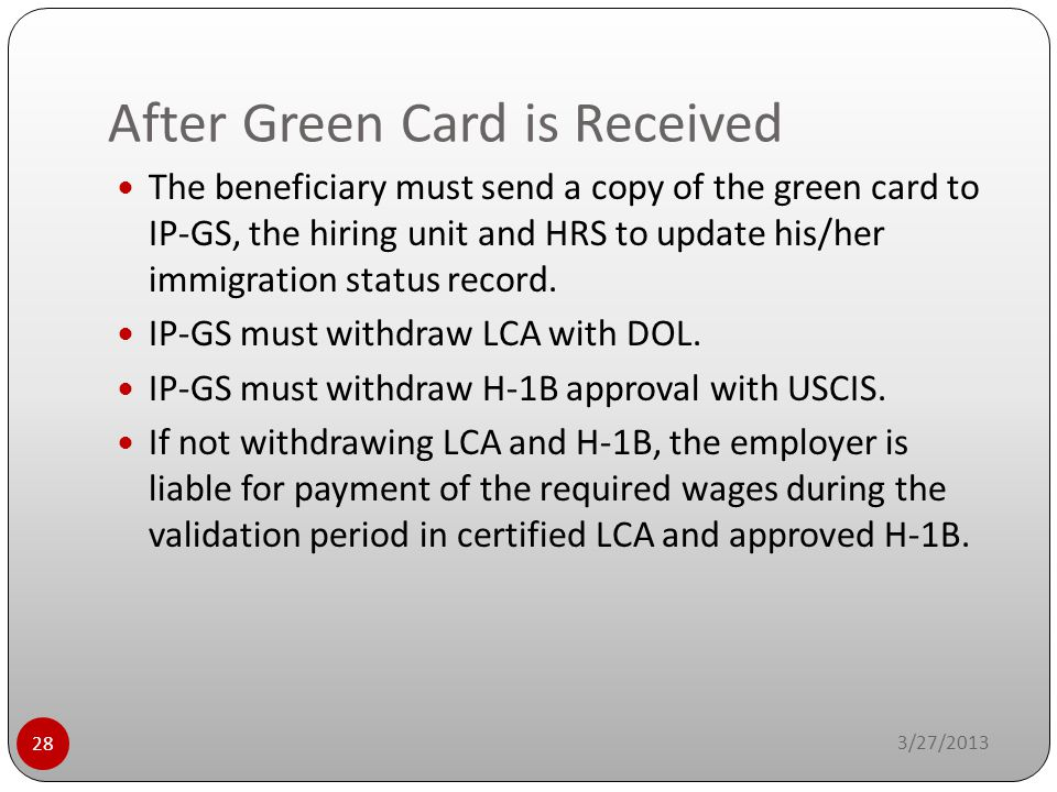 After Green Card is Received