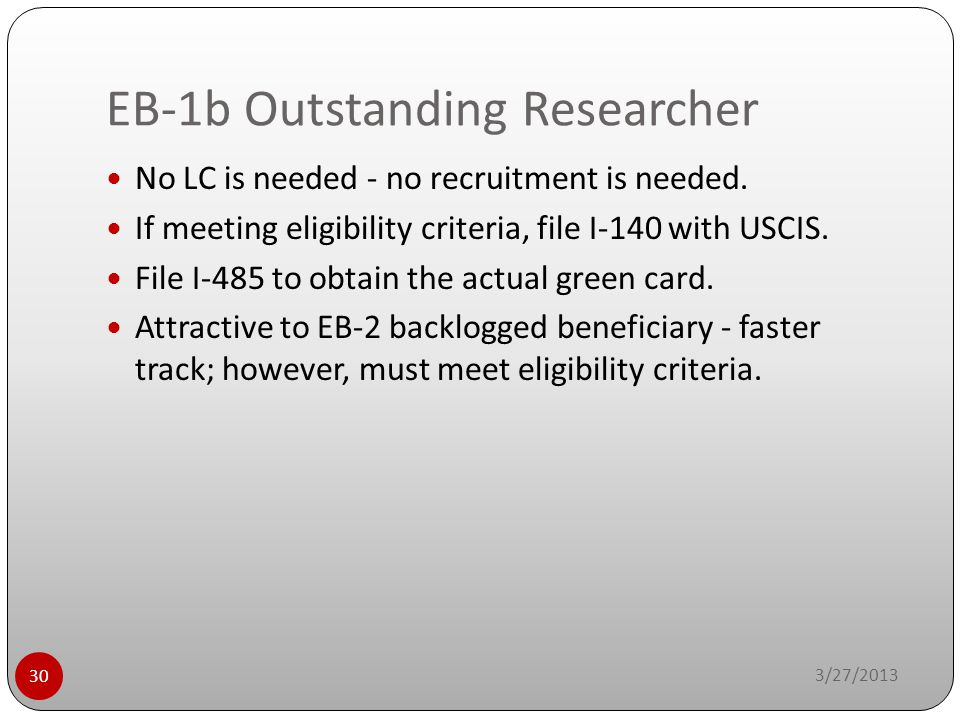 EB-1b Outstanding Researcher