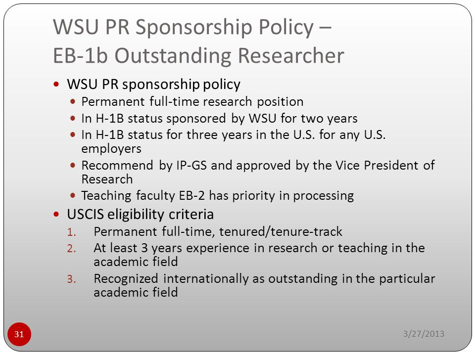 WSU PR Sponsorship Policy – EB-1b Outstanding Researcher