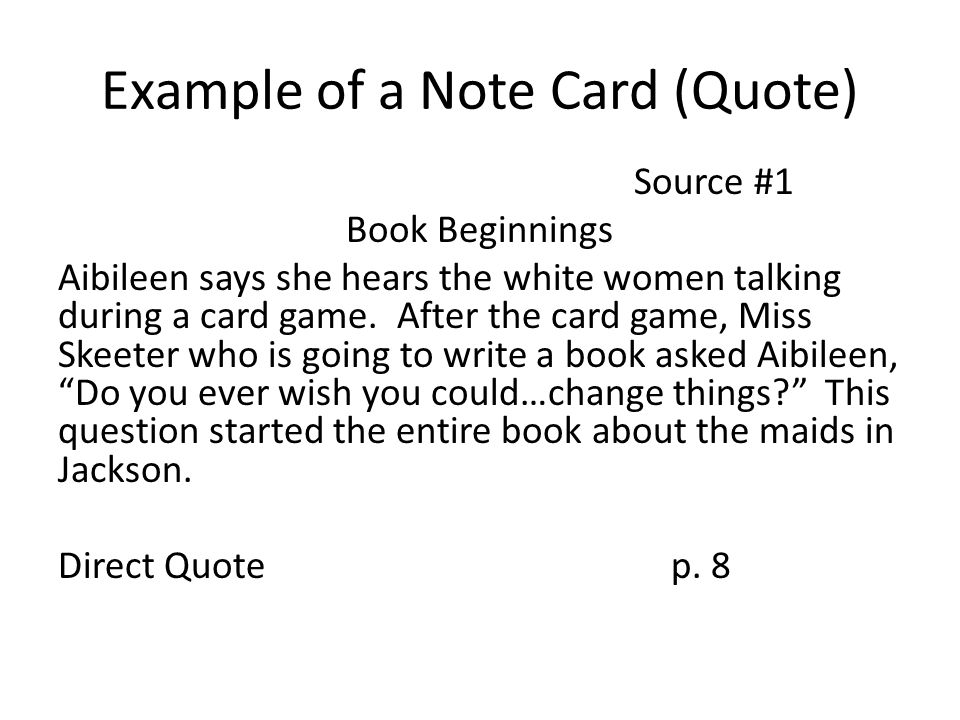 Example of a Note Card (Quote)