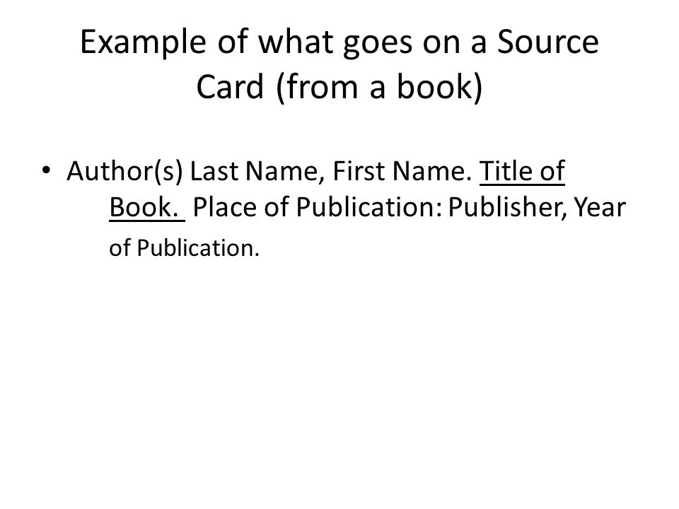 Example of what goes on a Source Card (from a book)