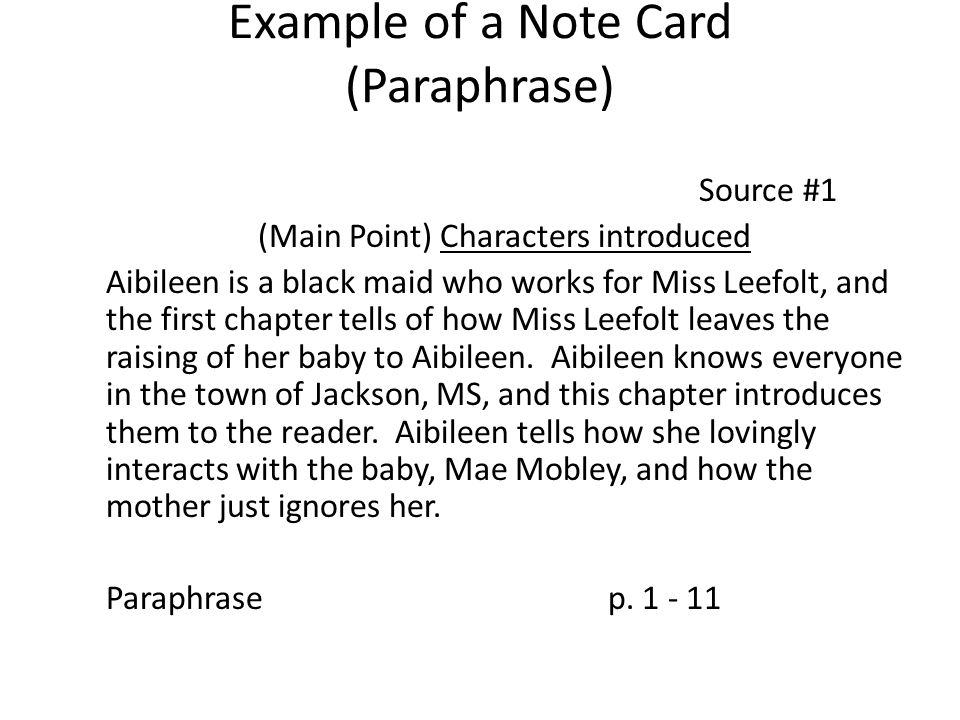 Example of a Note Card (Paraphrase)