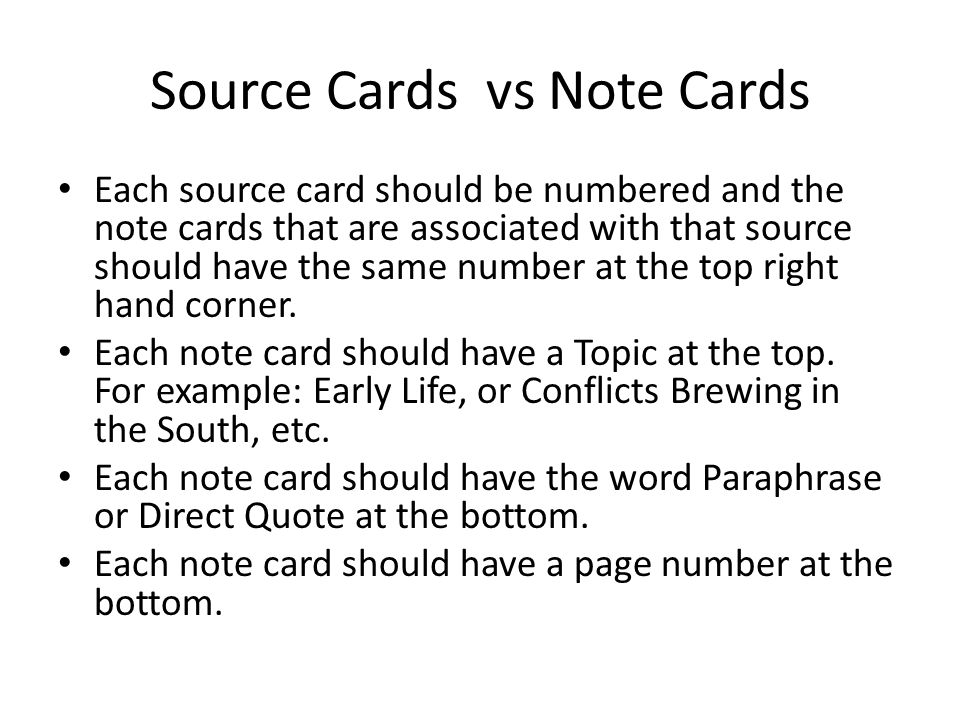 Source Cards vs Note Cards