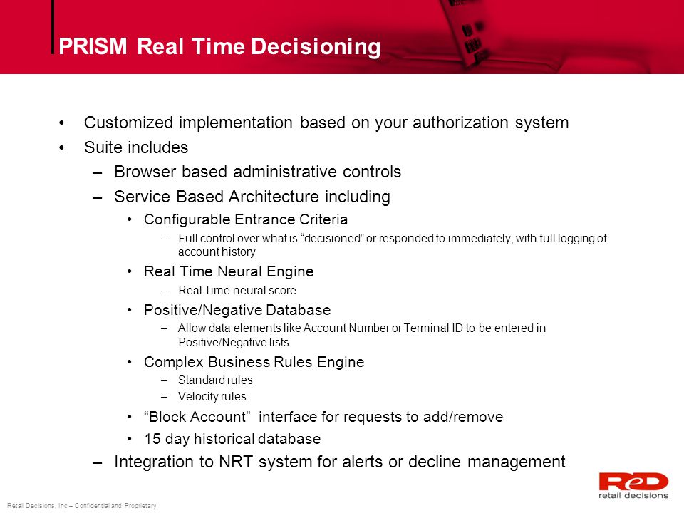 PRISM Real Time Decisioning