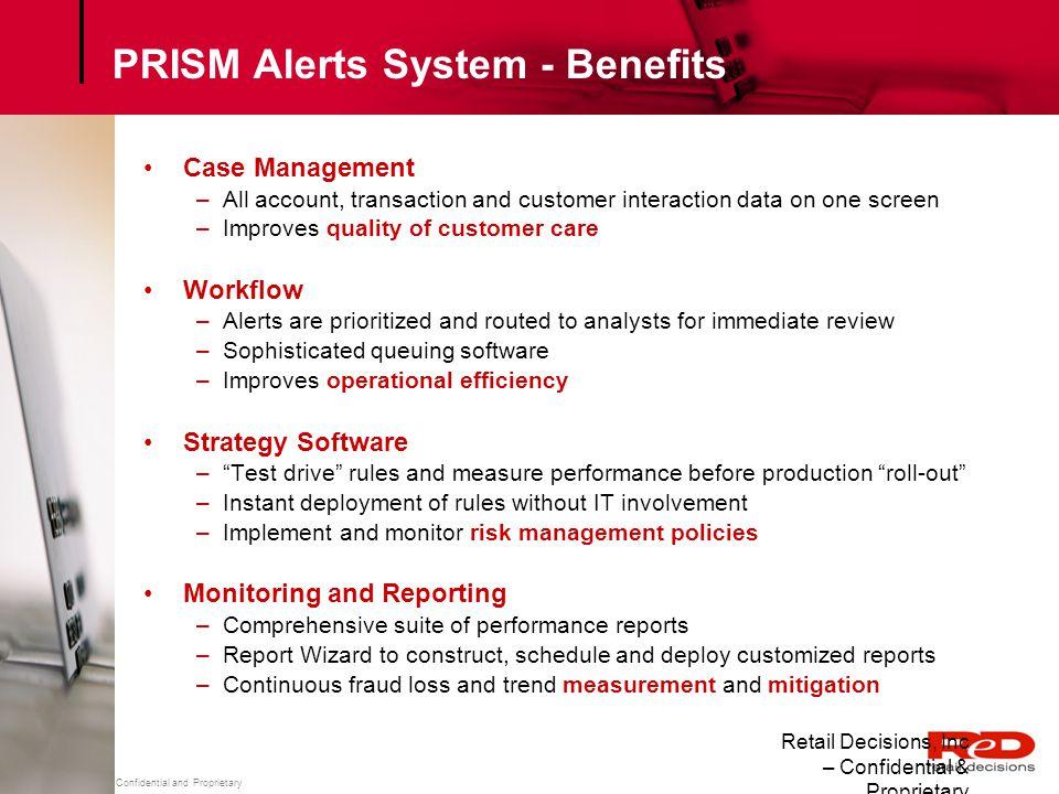 PRISM Alerts System - Benefits