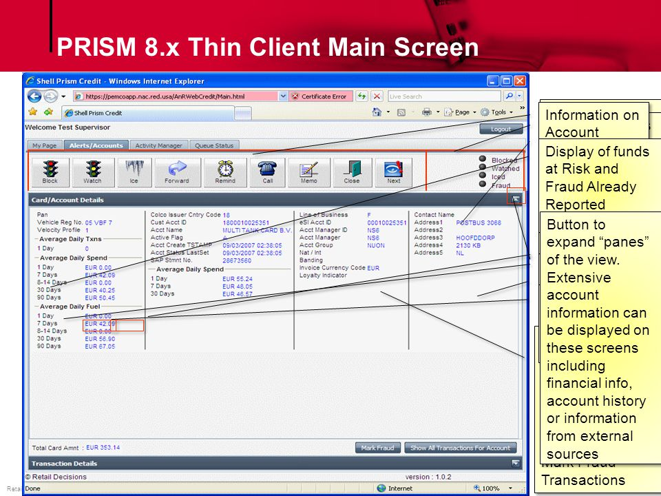 PRISM 8.x Thin Client Main Screen