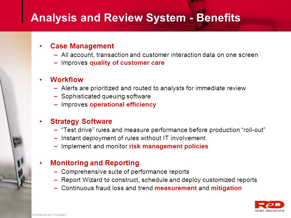Analysis and Review System - Benefits