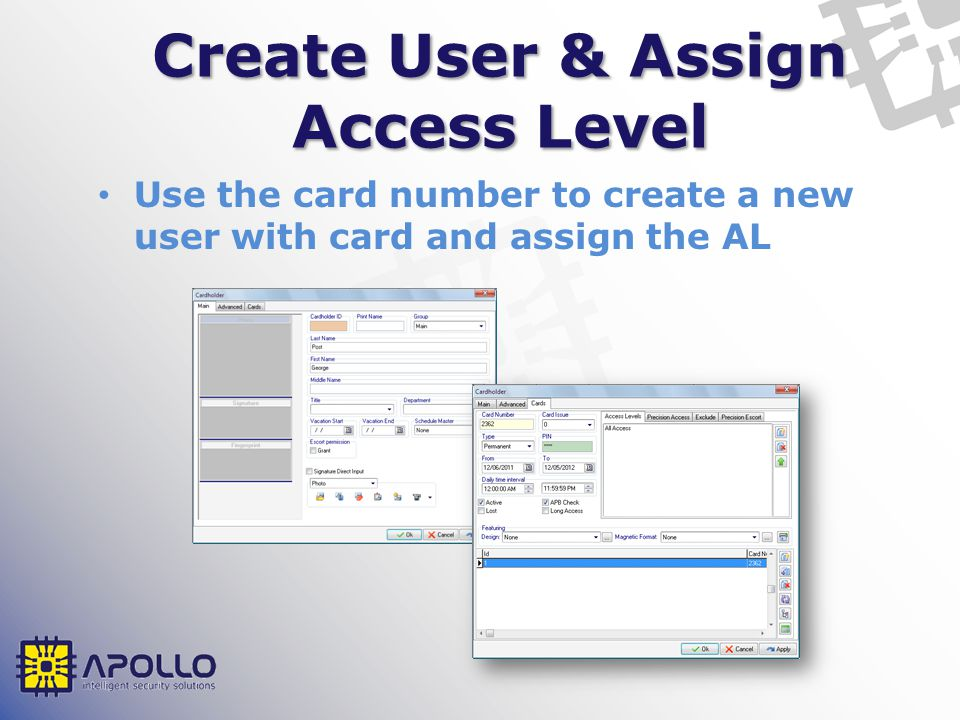 Create User & Assign Access Level