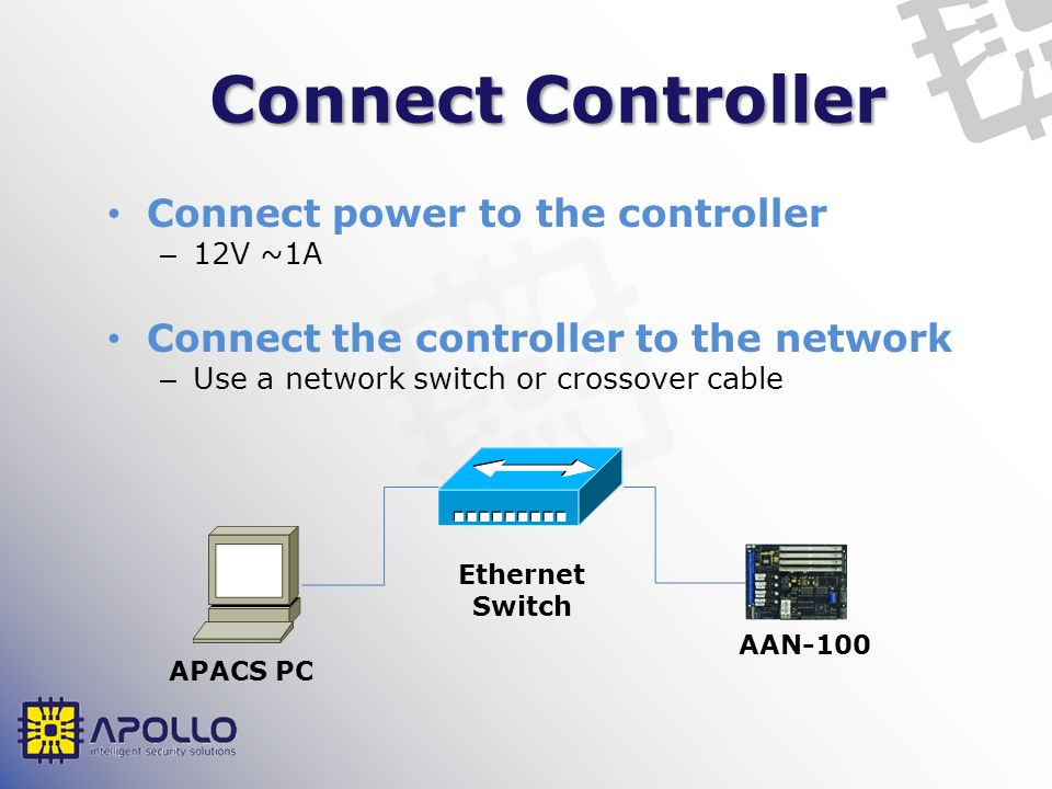Connect Controller Connect power to the controller