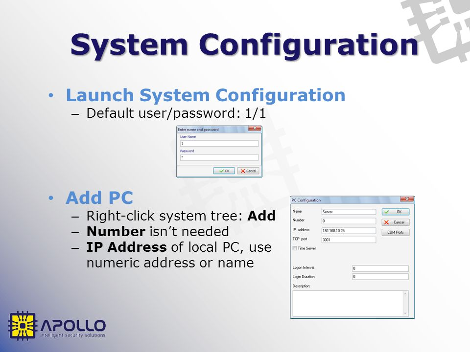 System Configuration Launch System Configuration Add PC