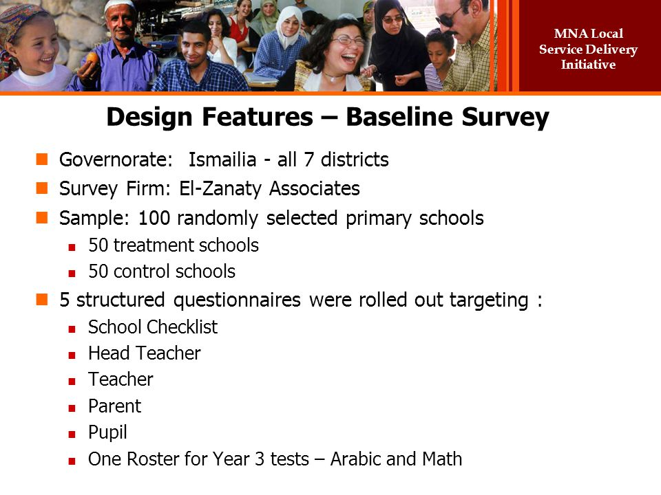Design Features – Baseline Survey