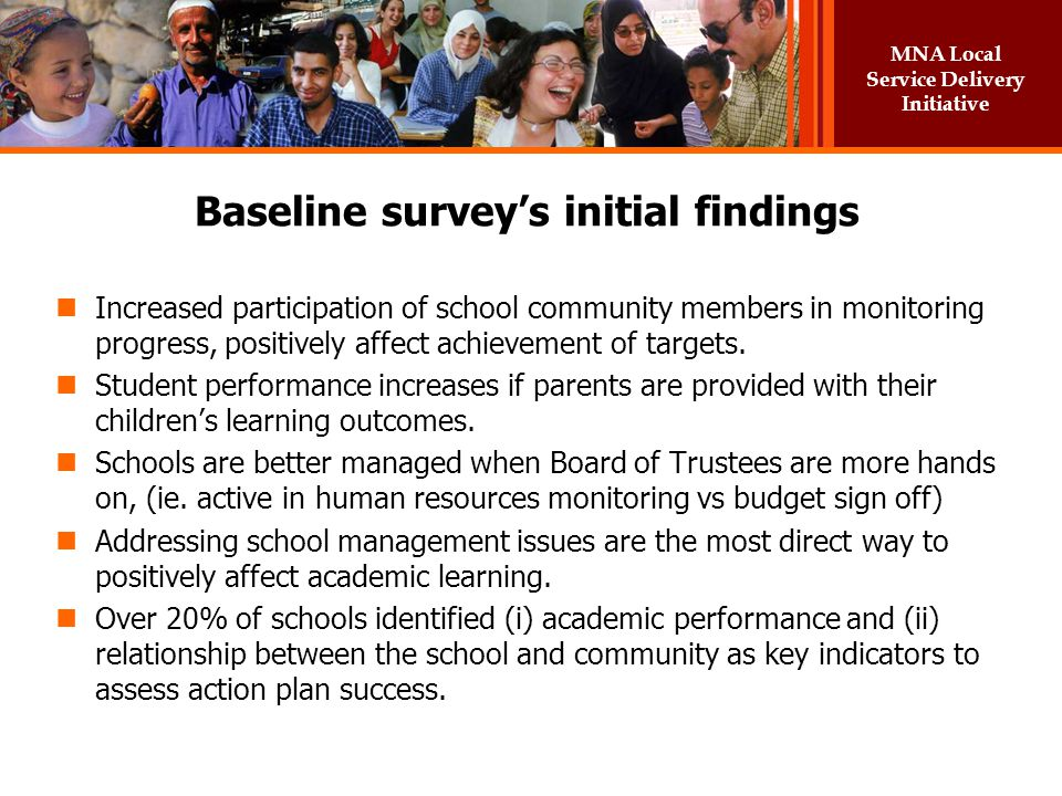 Baseline survey's initial findings
