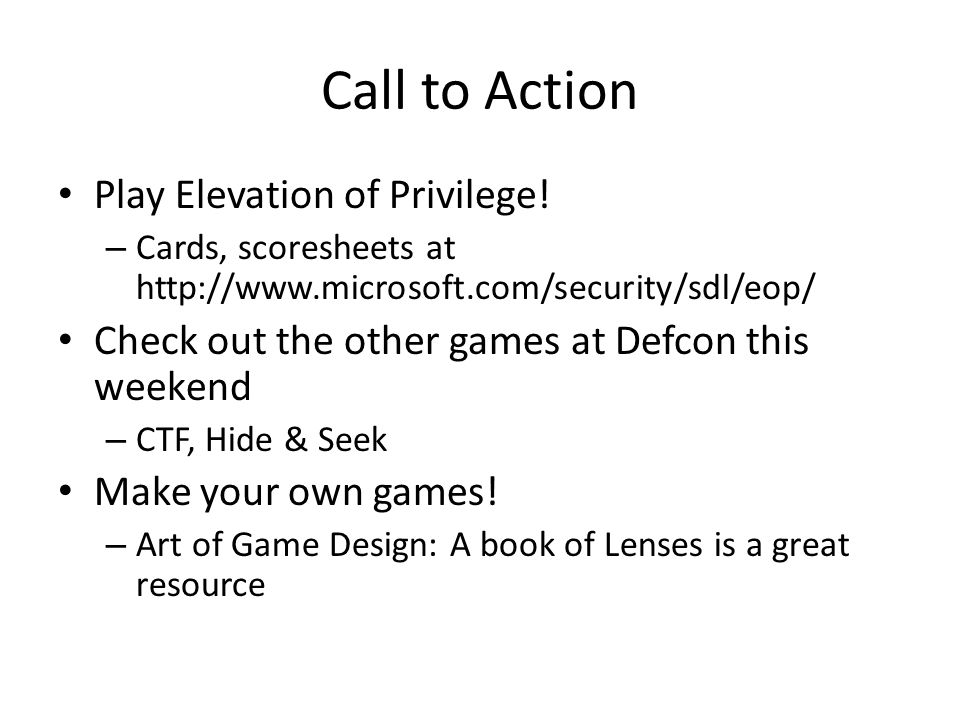 Call to Action Play Elevation of Privilege!
