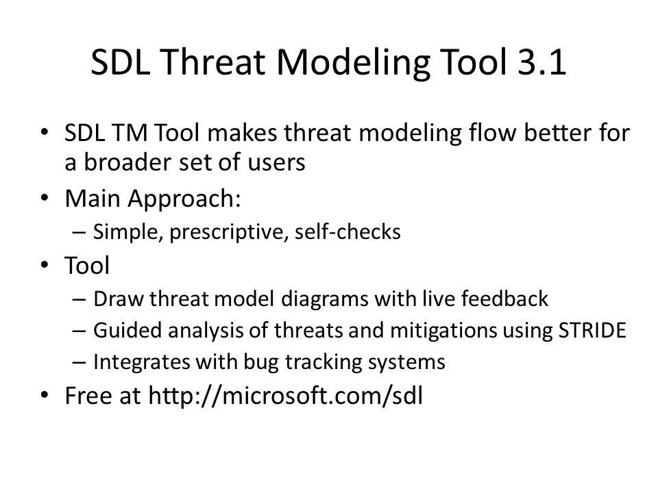 SDL Threat Modeling Tool 3.1