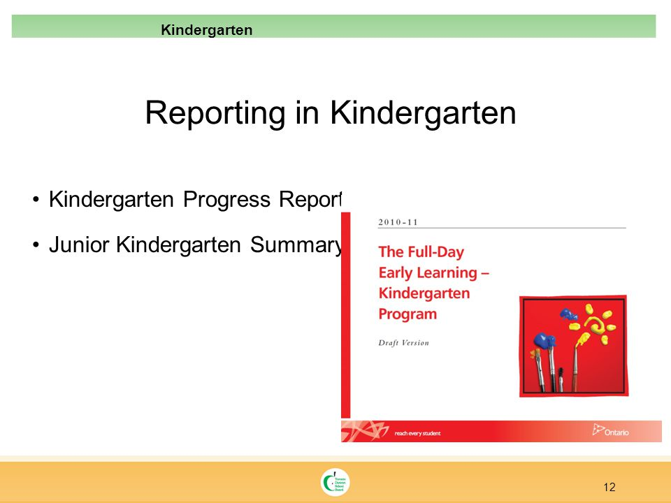 Reporting in Kindergarten