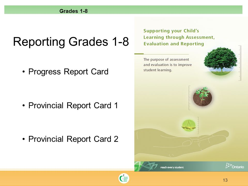Reporting Grades 1-8 Progress Report Card Provincial Report Card 1