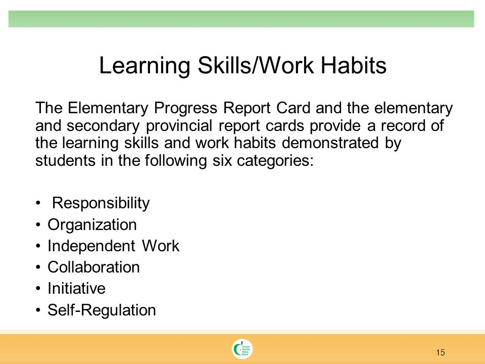 Learning Skills/Work Habits