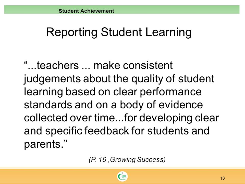 Reporting Student Learning