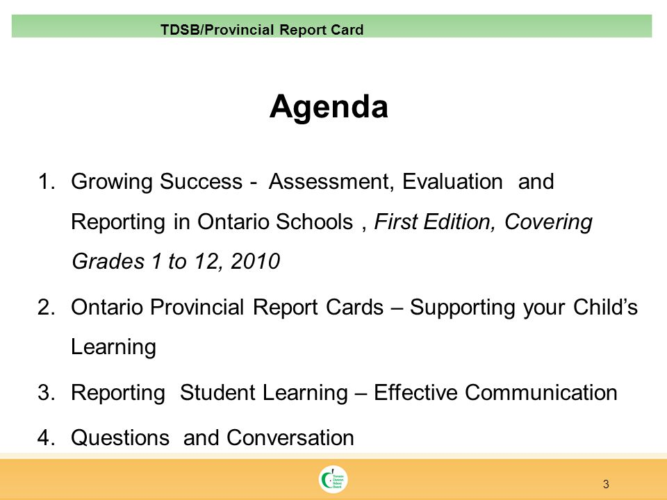 TDSB/Provincial Report Card