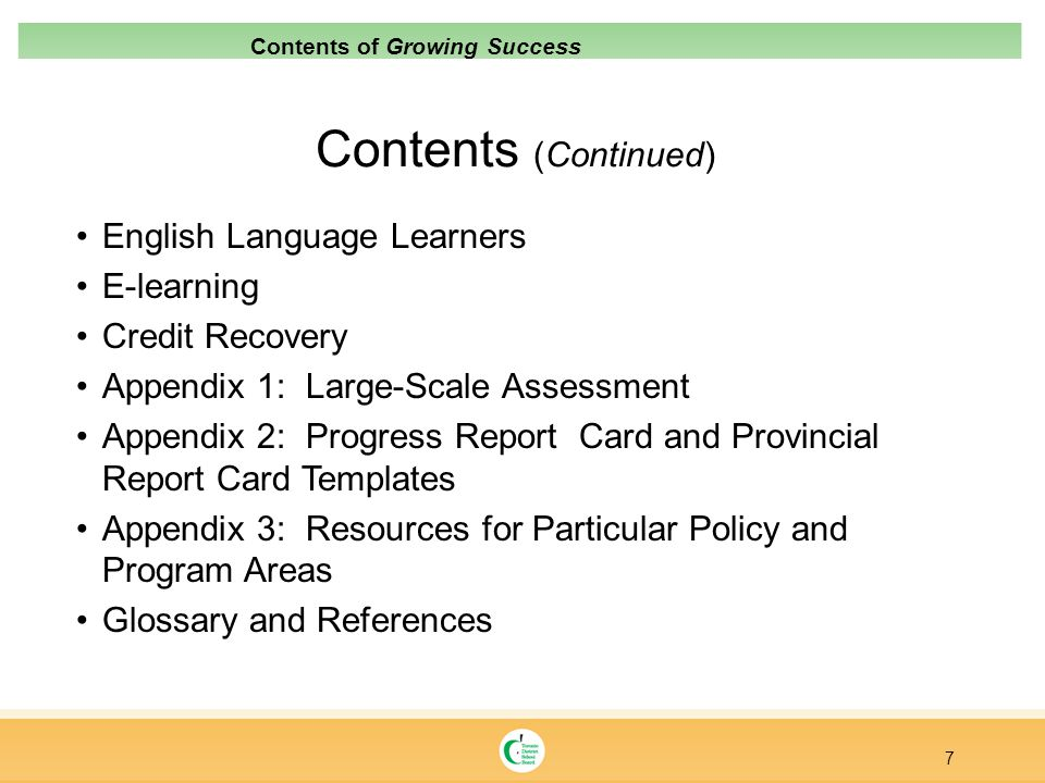 Contents (Continued) English Language Learners E-learning