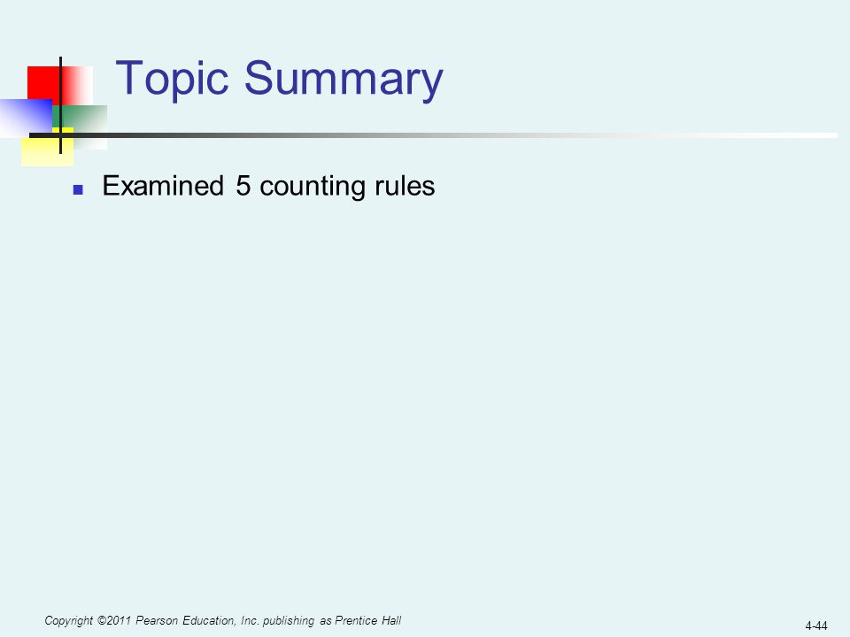 Topic Summary Examined 5 counting rules
