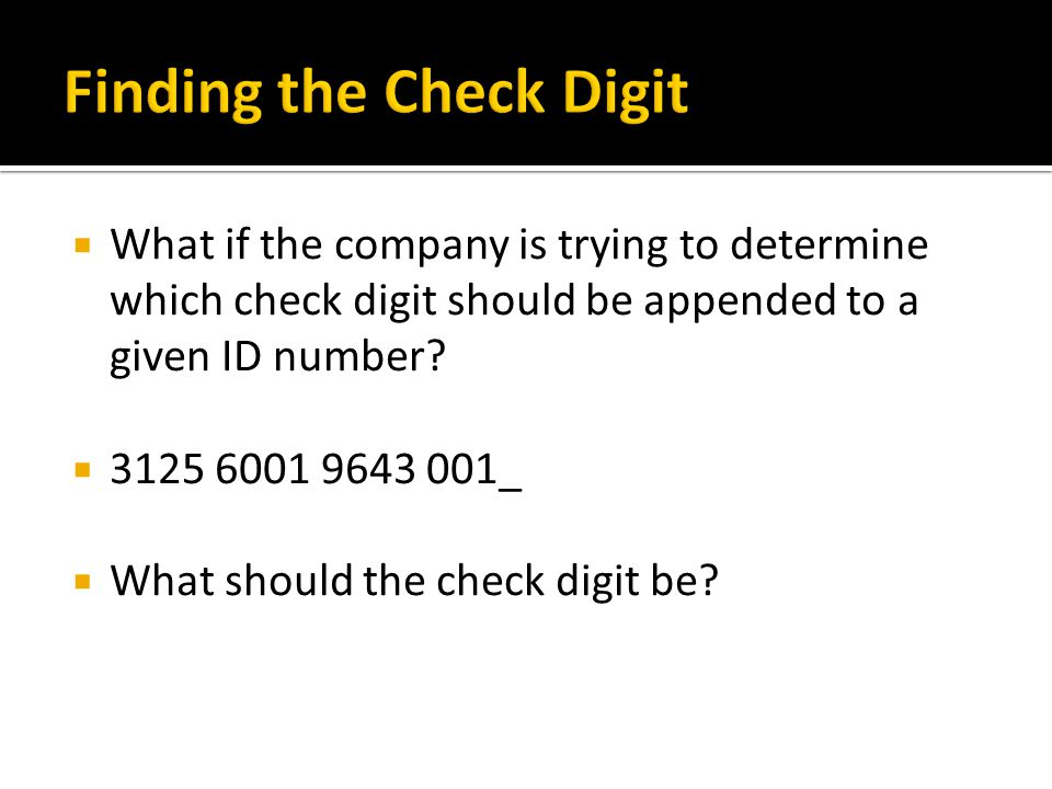 Finding the Check Digit