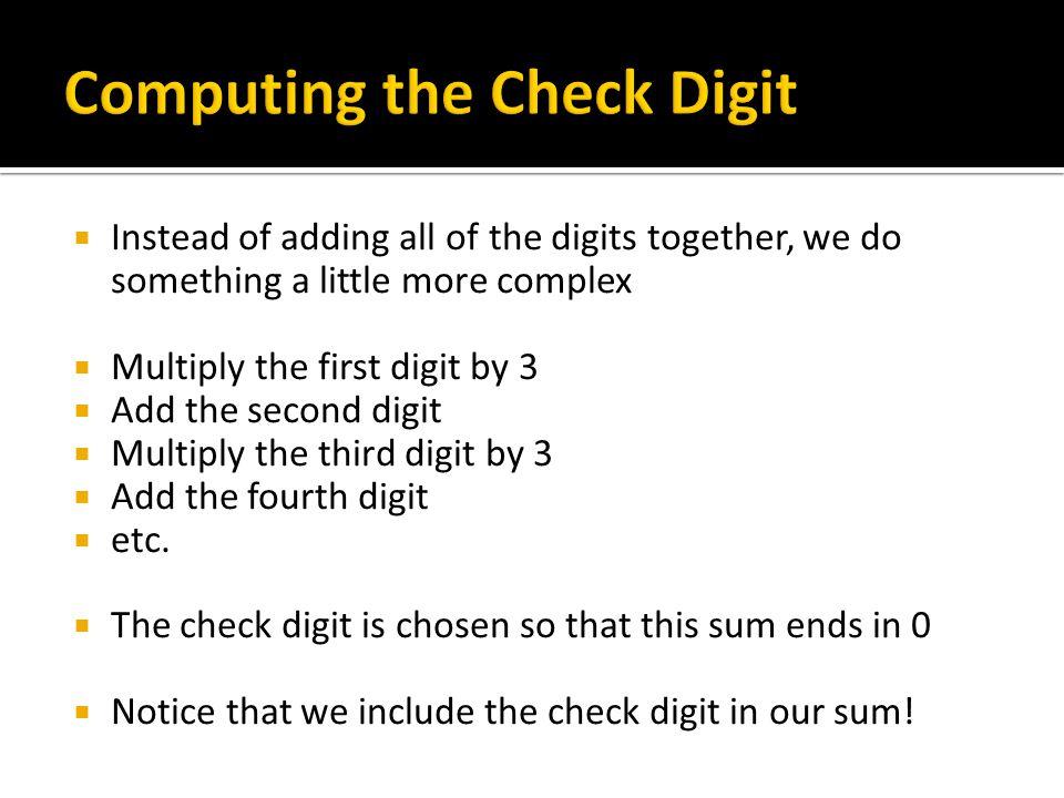 Computing the Check Digit