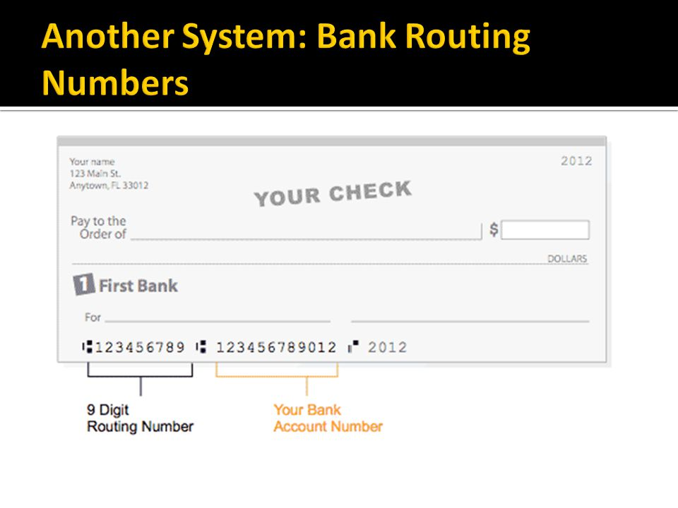 Another System: Bank Routing Numbers