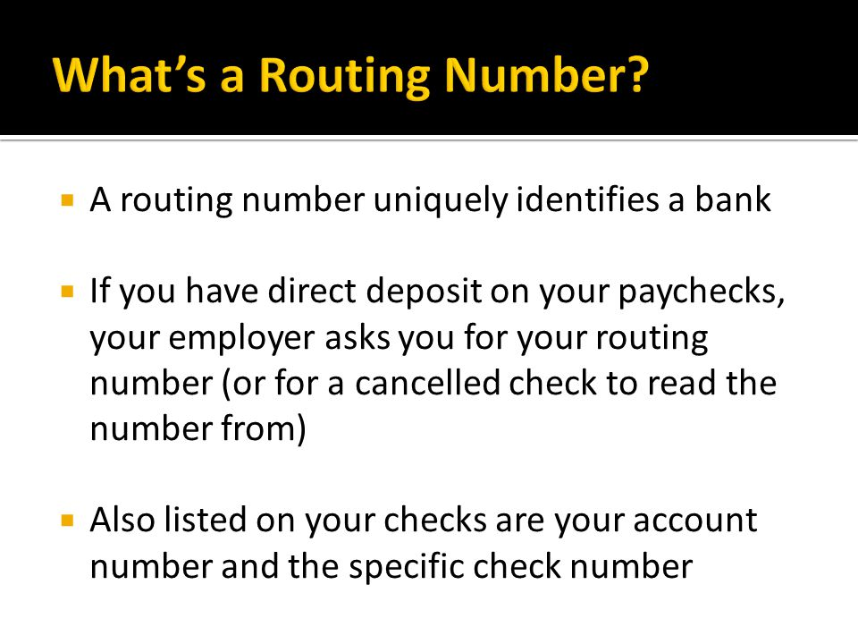 What's a Routing Number
