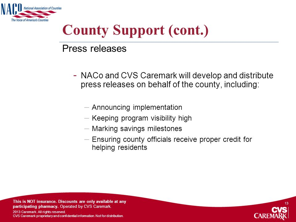 County Support (cont.) Press releases