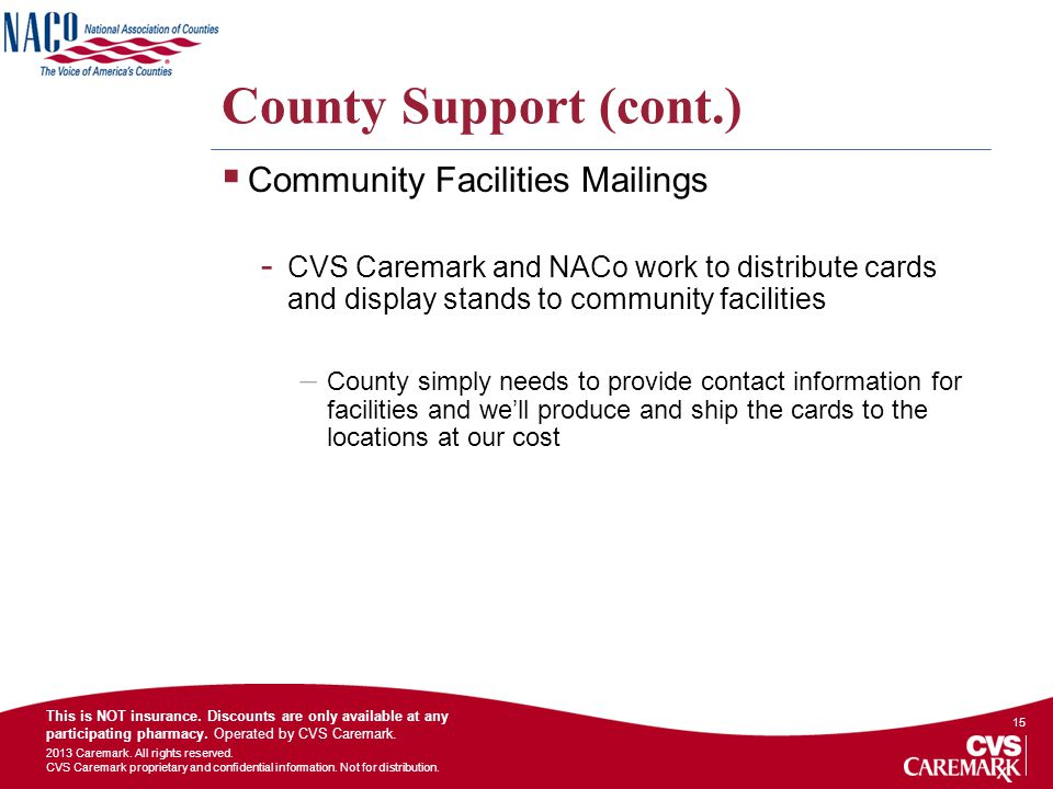 County Support (cont.) Community Facilities Mailings