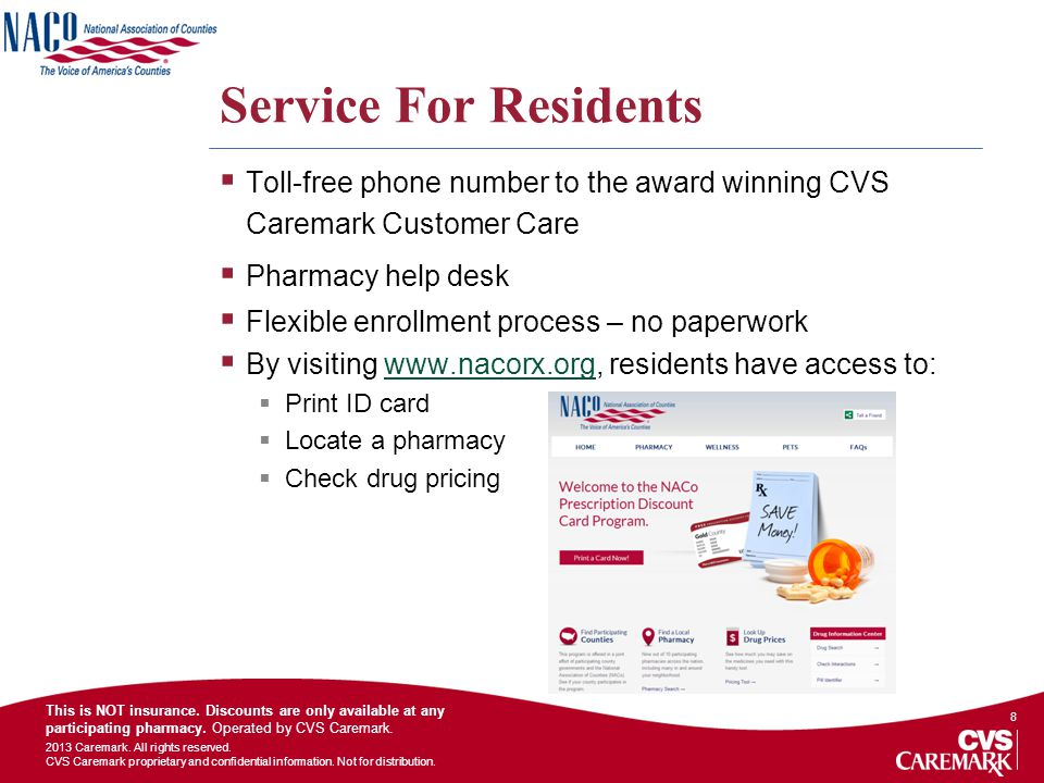 Service For Residents Toll-free phone number to the award winning CVS Caremark Customer Care. Pharmacy help desk.