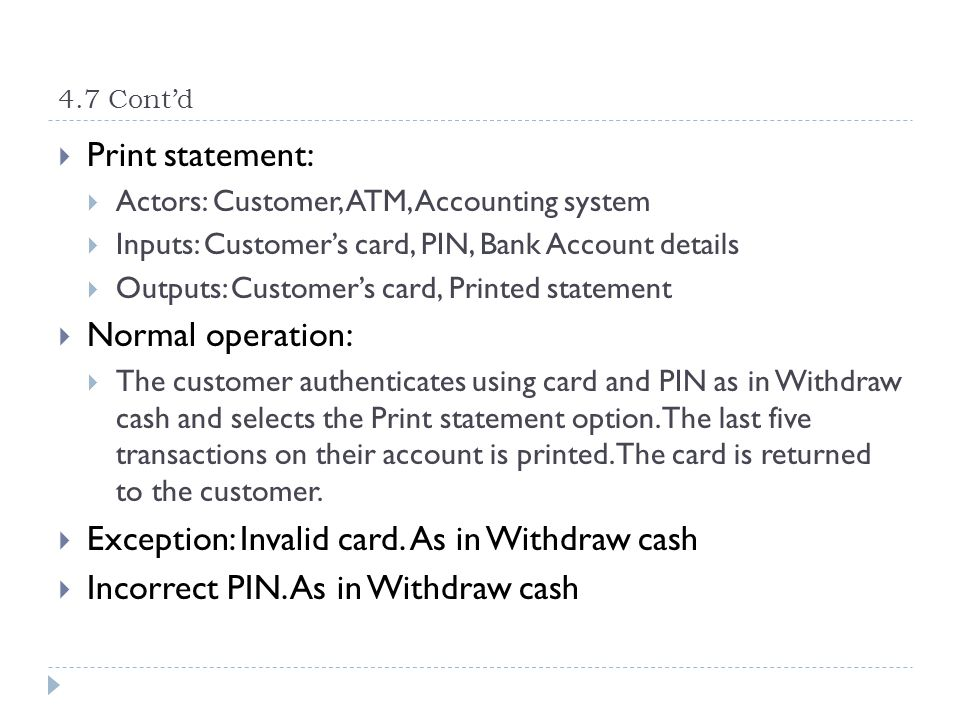 Exception: Invalid card. As in Withdraw cash